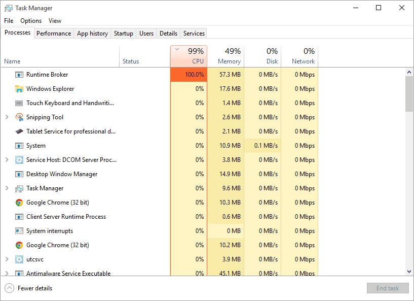 RuntimeBroker.exe 100% CPU Usage [Resolved]